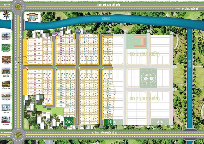 Đất mặt tiền QL50, SHR từng nền, hạ tầng hoàn chỉnh, giá từ 8tr/m2/nền, LH: 0933.022.543